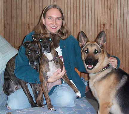 Amy with Brindle, Echo, and foster Ranger